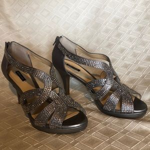 Silver rhinestone studded shoes